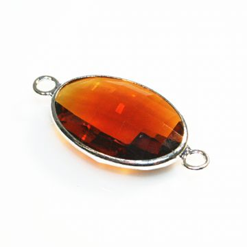 27*20mm Amber colour oval crystal connectors